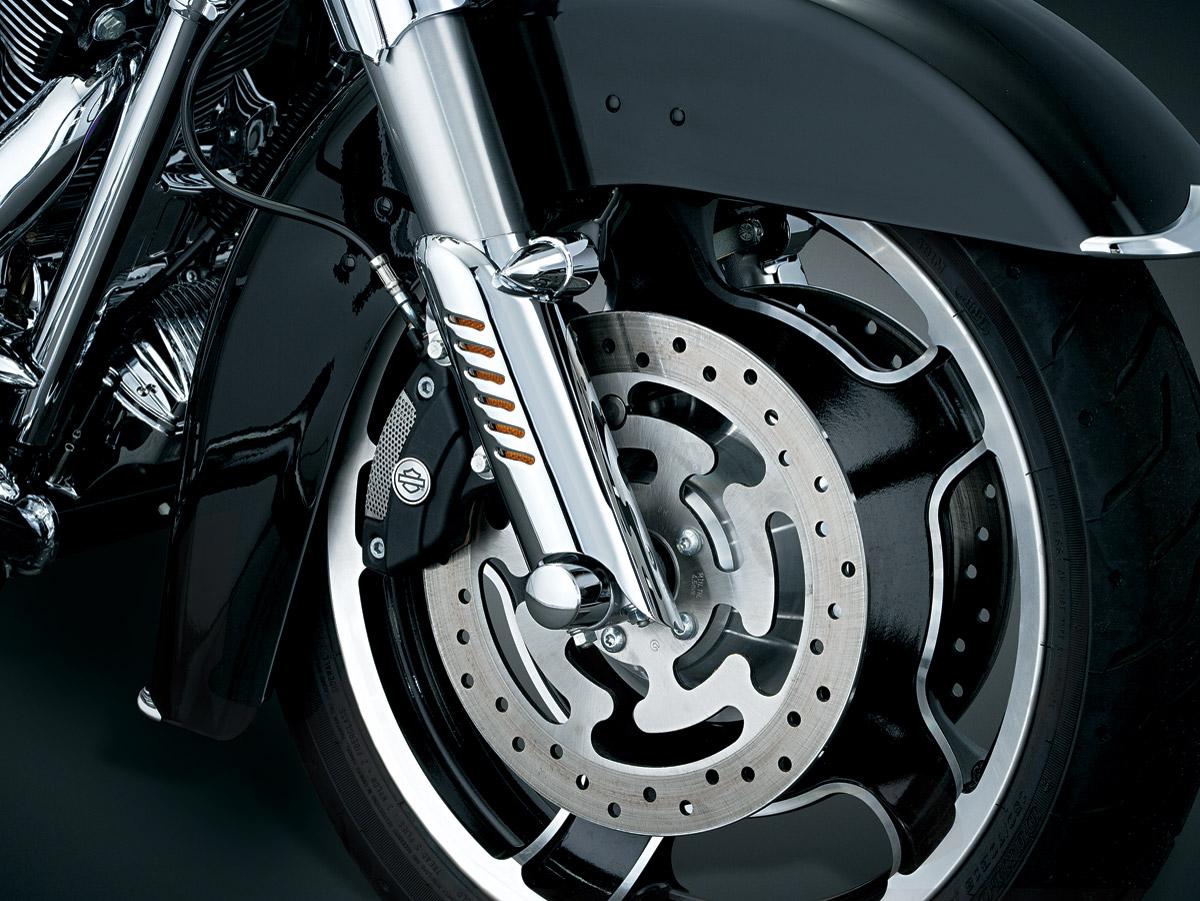 Kuryakyn Chrome Leg Deflector Shield with Fender Boss Covers