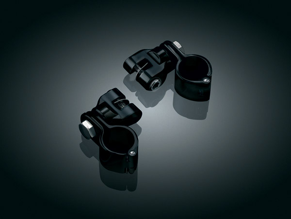 Kuryakyn Gloss Black Peg Mounts with Magnum Quick Clamps