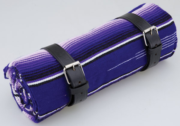 La Raza Roll-up Purple Blanket with Plain Black Roll Strap