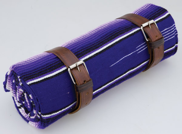 La Raza Roll-up Purple Blanket with Plain Brown Roll Strap