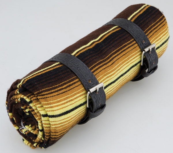 La Raza Roll-up Brown Blanket with Greca Black Roll Strap