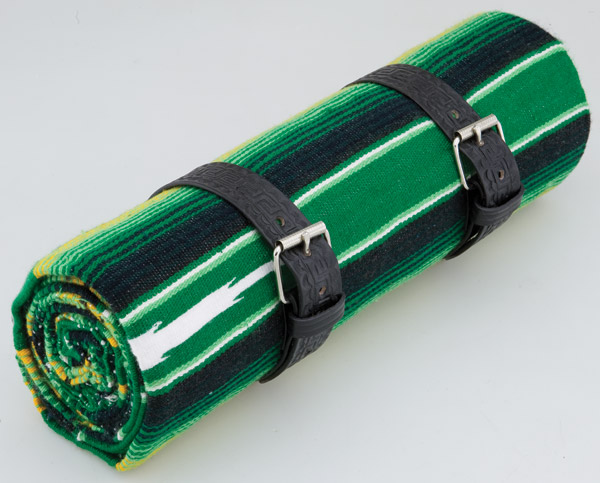 La Raza Roll-up Green Blanket with Greca Black Roll Strap