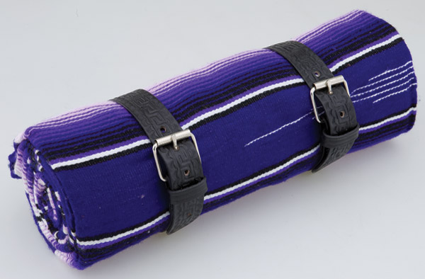 La Raza Roll-up Purple Blanket with Greca Black Roll Strap