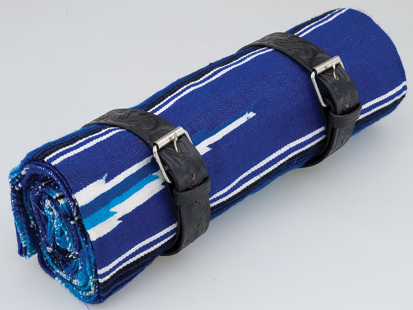 La Raza Roll-up Blue Blanket with Floral Black Roll Strap