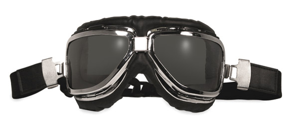 Global Vision Eyewear Classic-1 Chrome Goggles with Smoke Lens