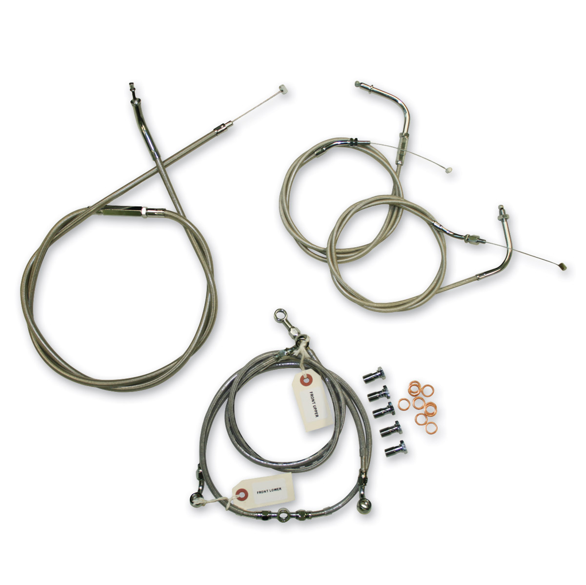 LA Choppers Stainless Cable/Brake Line Kit for 15″-17″ Bars