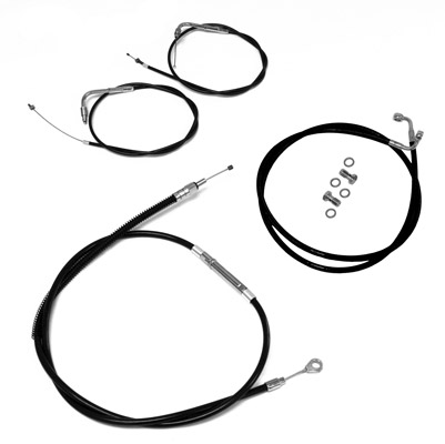 LA Choppers Black Cable and Brake Line Kits for OEM Bars FXSTD, FLST Models