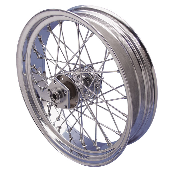 V-Twin Manufacturing 40-Spoke Complete Chrome Rear Wheel Assembly, 18