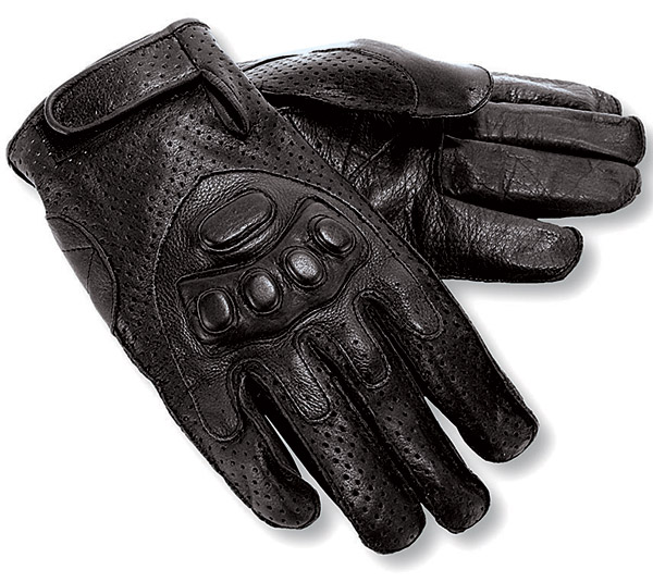 Interstate Leather Perforated Black Leather Riding Gloves