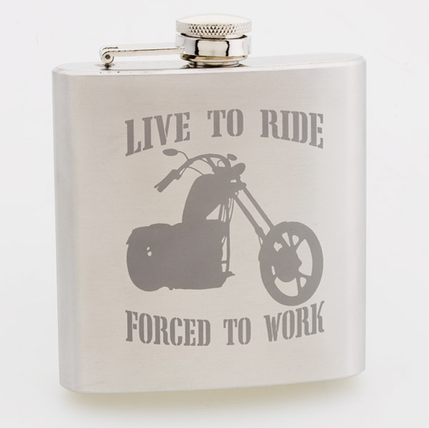Live To Ride, Forced To Work Stainless Steel Hip Flask