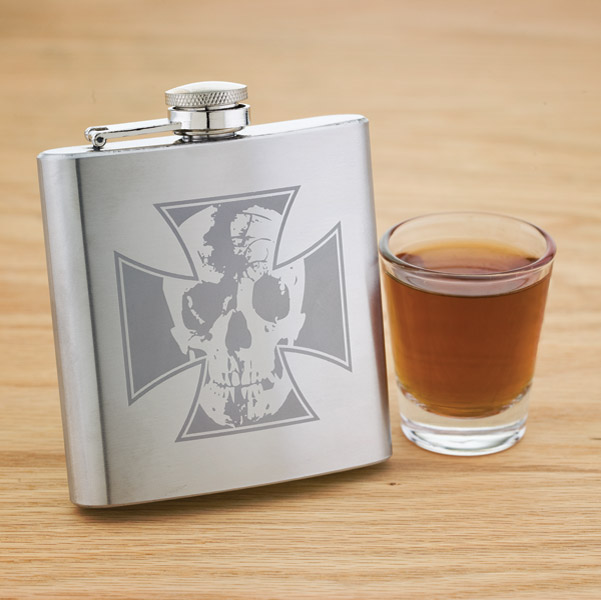 Skull And Cross Stainless Steel Hip Flask