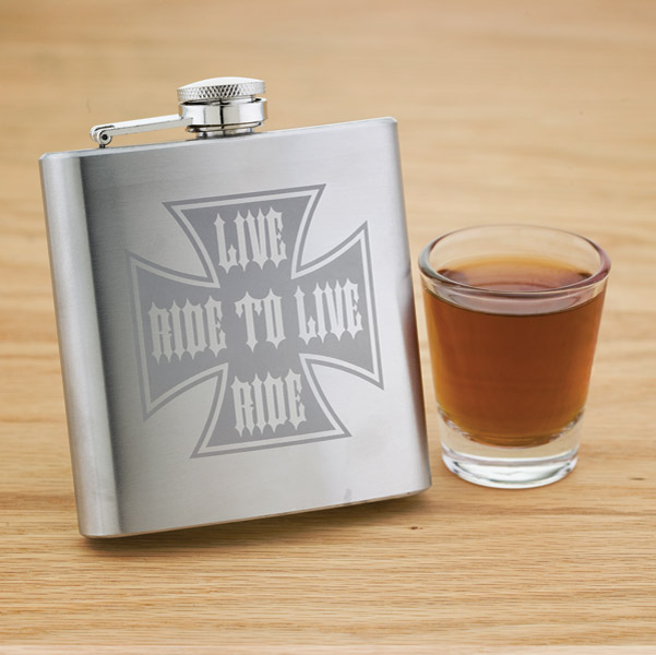 Live To Ride, Ride To Live Cross Stainless Steel Hip Flask