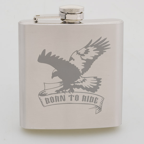 Born To Ride Eagle Stainless Steel Hip Flask