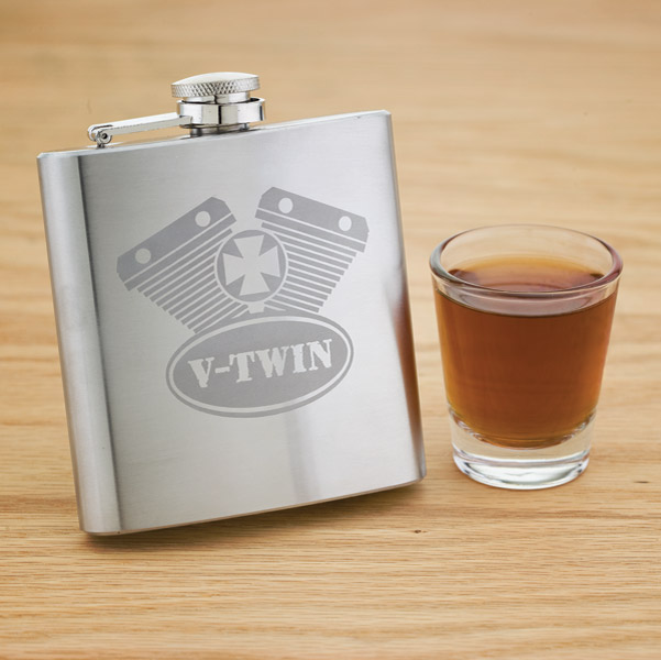 V-Twin Stainless Steel Hip Flask