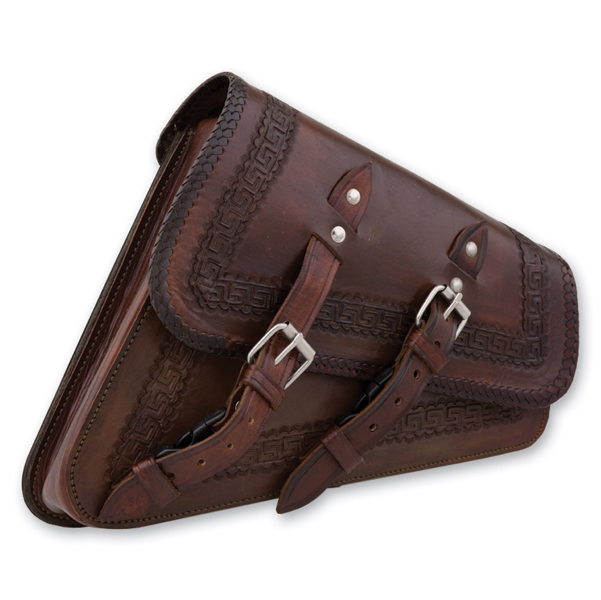 Convict Custom Cycles La Raza Brown Swingarm Bags