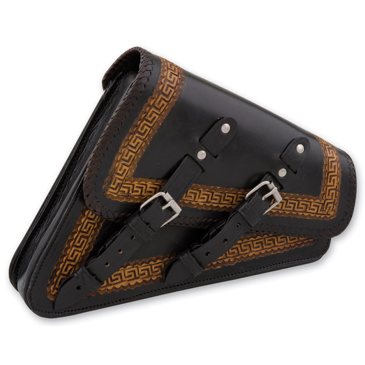 Convict Custom Cycles La Raza Black/Brown Swingarm Bags