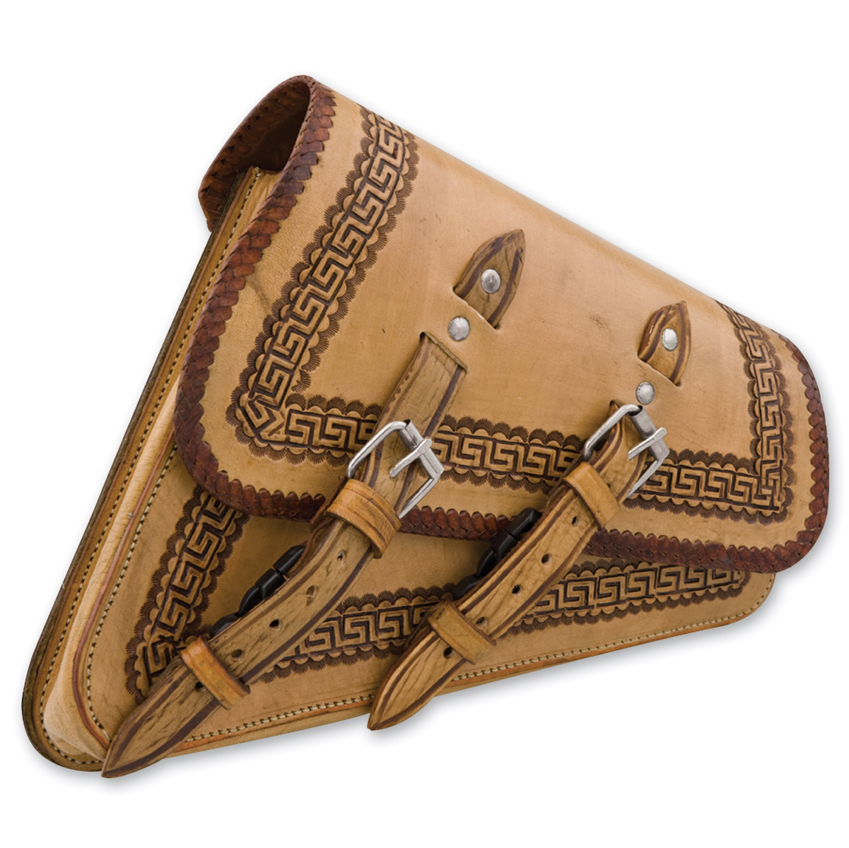 Convict Custom Cycles La Raza Tan Swingarm Bags