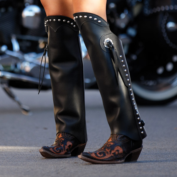 HogGaiters Heritage Black with Concho Waterproof Leg Protection