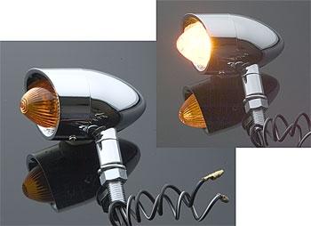 Milwaukee Twins Nostalgic-Style Mini Marker Light Set Chrome with Amber Lens