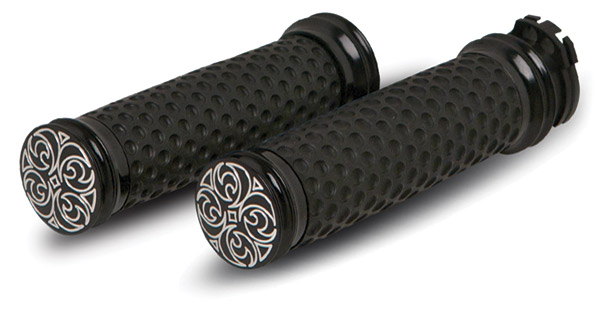 Arlen Ness Soft Touch Engraved Black Billet Grips