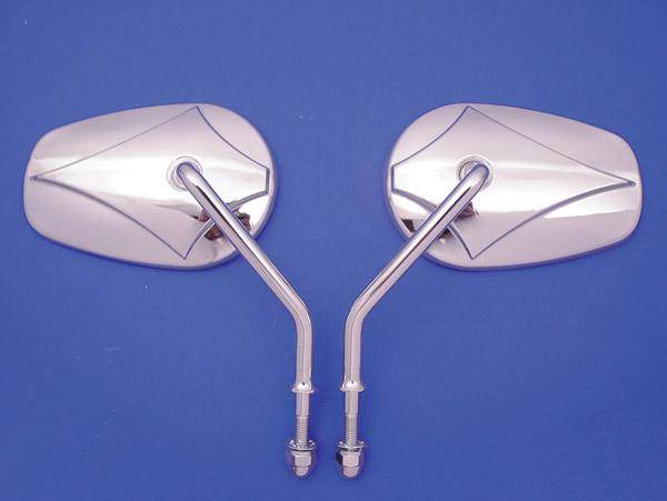 V-Twin Manufacturing Teardrop Short Stem Mirror Set