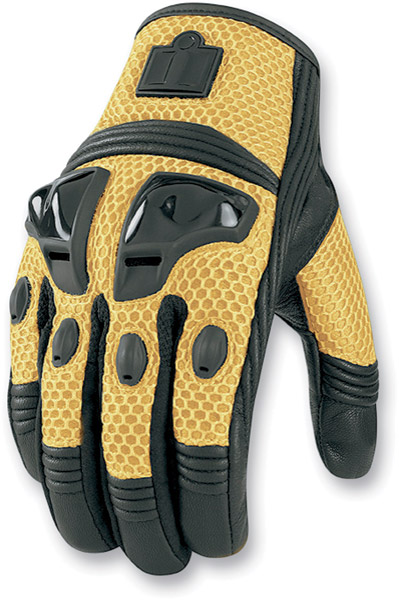 ICON Justice Men's Yellow Mesh Motorcycle Gloves
