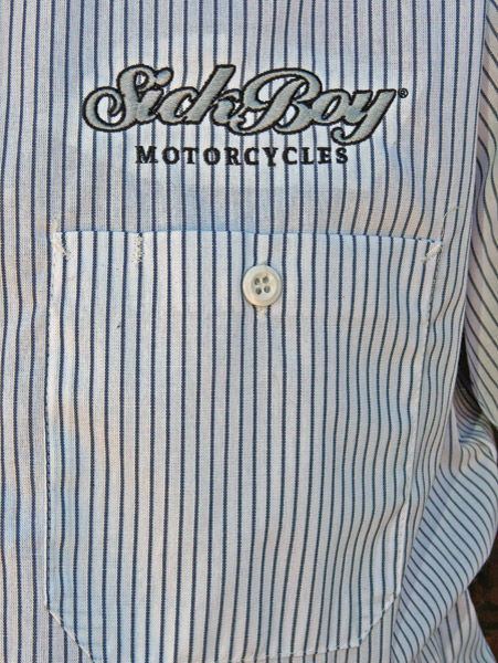 Sick Boy Men's Pinstripe Gray Work Shirt