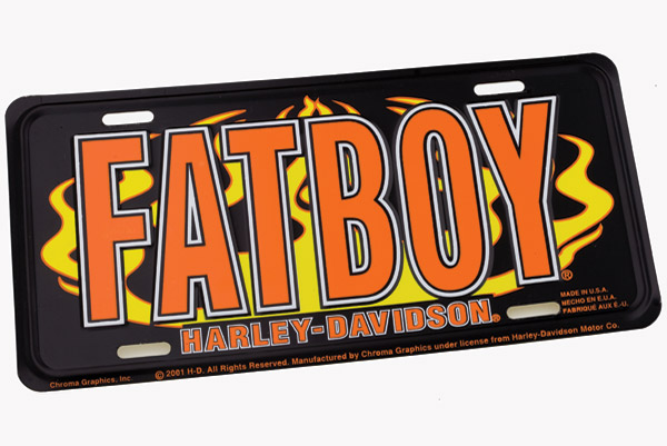 DMS Harley-Davidson Fat Boy Flame Auto License Plate