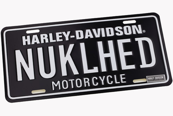 DMS Harley-Davidson Knucklehead Black Auto License Plate