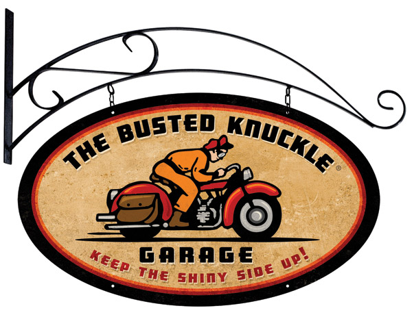 Busted Knuckle Retro-Rider Oval Flang Sign with Hanger