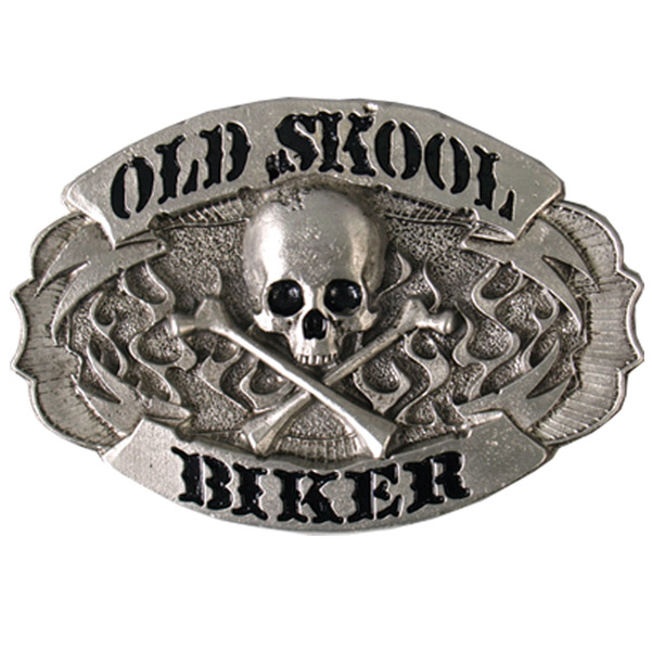 Hot Leathers Skull and Crossbones Old Skool Biker Belt Buckle