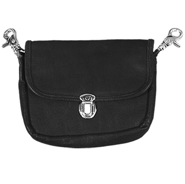 Hot Leathers Classic Black Leather Clip Pouch