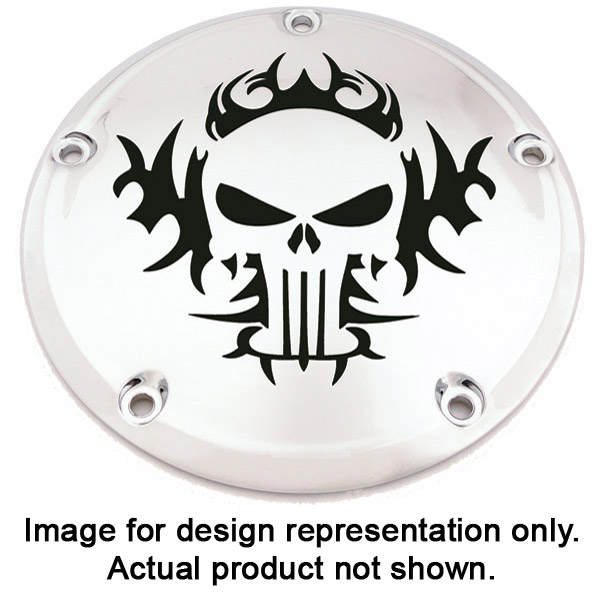 Custom Engraving Ltd. Tribal Skull Derby Cover for Big Twin