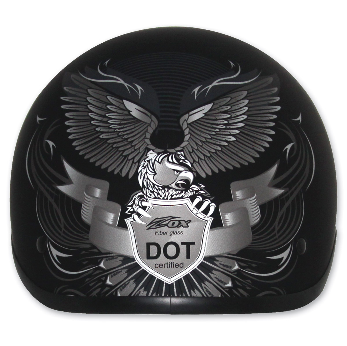 Zox Nano Custom Liberty Gloss Black and Silver Half Helmet