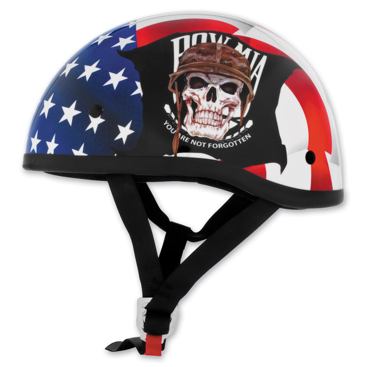 Skid Lid Original POW MIA Red, White, and Blue Half Helmet
