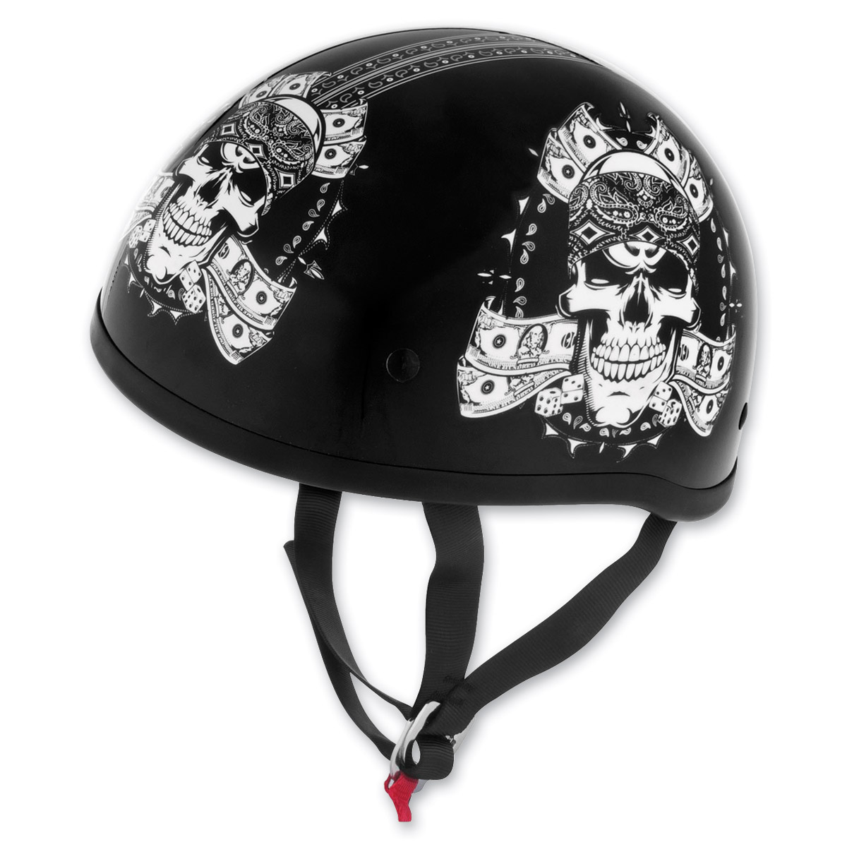 Skid Lid Original Thug Skull Black and White Half Helmet