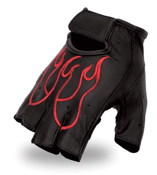 First Manufacturing Co. Black Fingerless Gloves with Red Flames