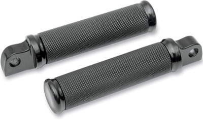 Drag Specialties Black Knurled with Rubber Inset Male Mount Footpegs