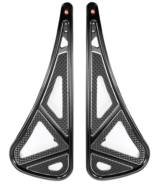 Battistinis Wireframe Passenger Black and Chrome Floorboards