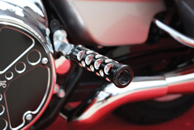 Battistinis Black Round Hole Footpegs