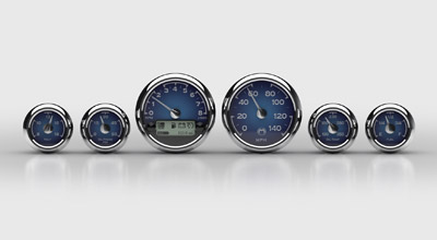 Medallion Instrumentation Systems Classic Blue Gauge Set for Touring Models