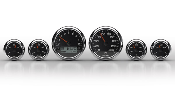 Medallion Instrumentation Systems Premium Bagger KPH Gauges, Racing Black