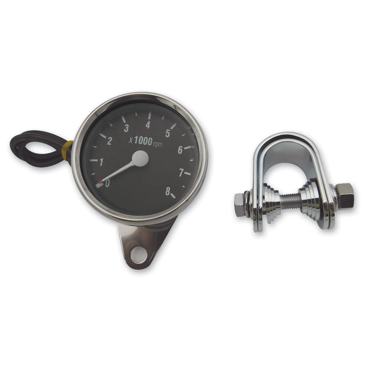 J&P Cycles® Black Face Electric Tachometer