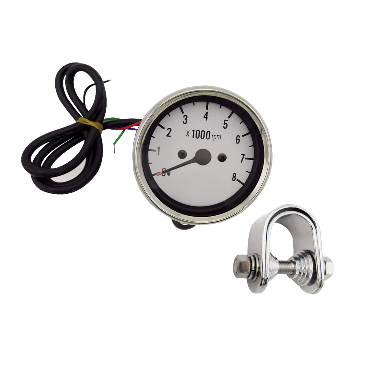 J&P Cycles White Face Electric Tachometer