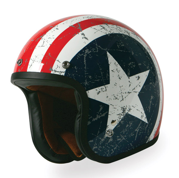 Torc Route 66 T-50 Rebel Star Red/White/Blue Open Face Helmet