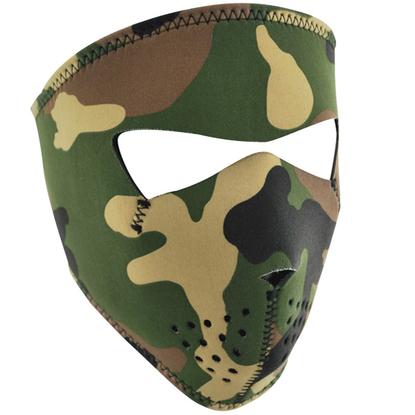 ZAN headgear Woodland Camo Neoprene Face Mask