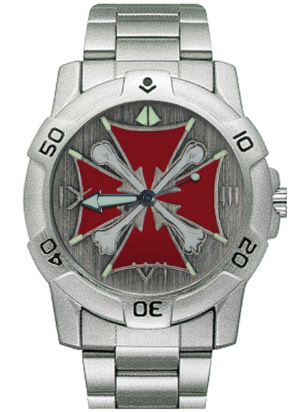 Ram Instrument Chrome Iron Cross with Bones Biker Watch