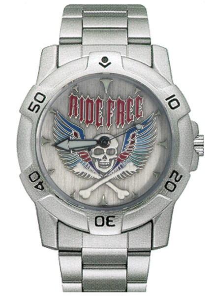 Ram Instrument Chrome Ride Free Skull Biker Watch