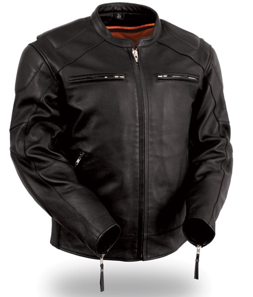 first manufacturing co men s vented leather jacket with conceal