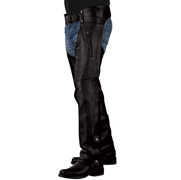 Leather Chaps with Covered Side Zippers